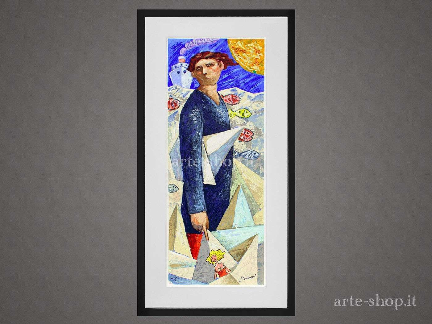 Serigrafia Giampaolo Talani - Le barche del viaggio: un uomo