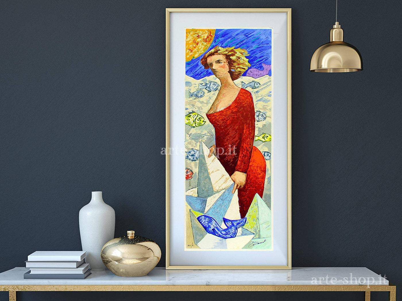Serigrafia Giampaolo Talani - Le barche del viaggio: una donna