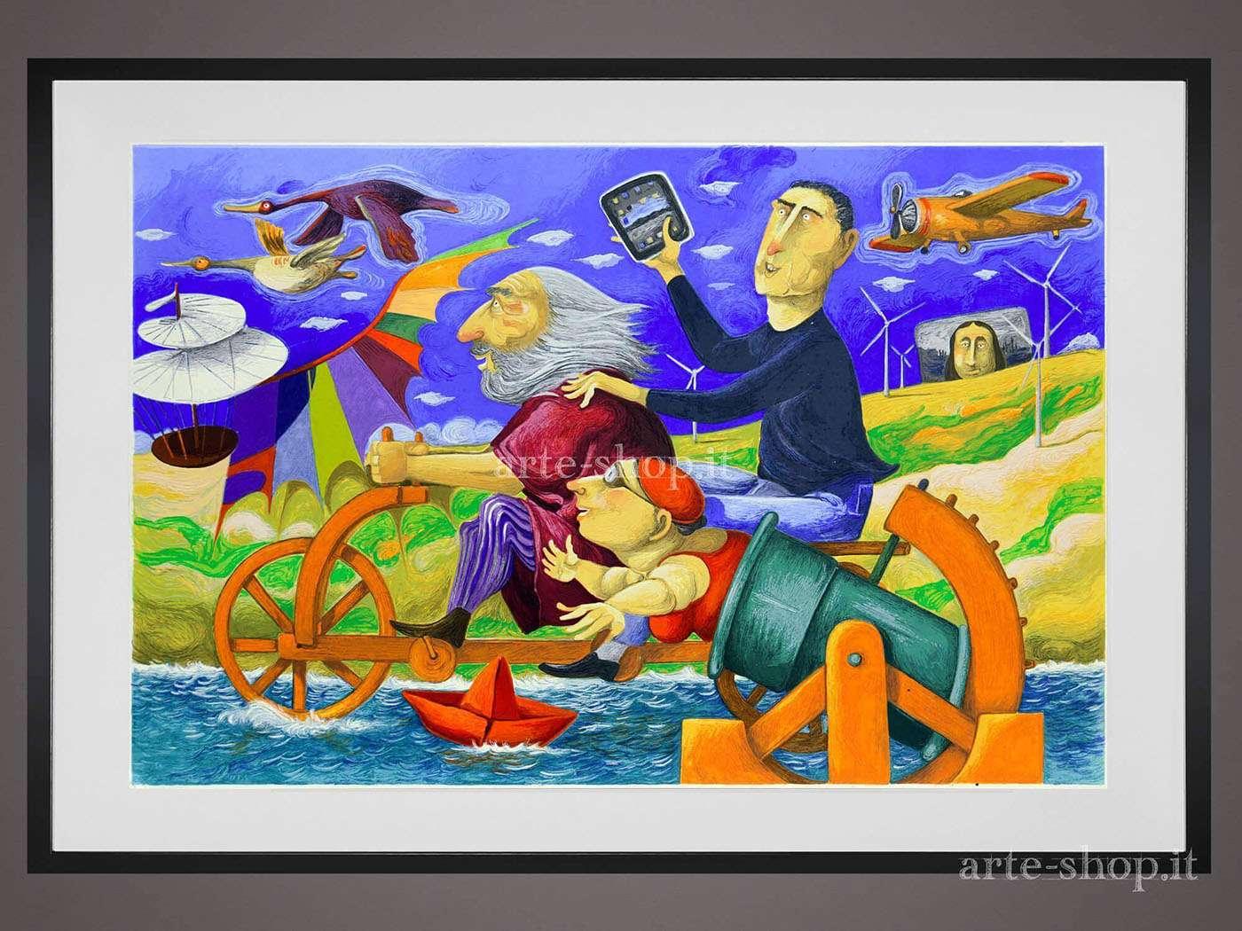 Serigrafia Pino Procopio - In viaggio con Leonardo
