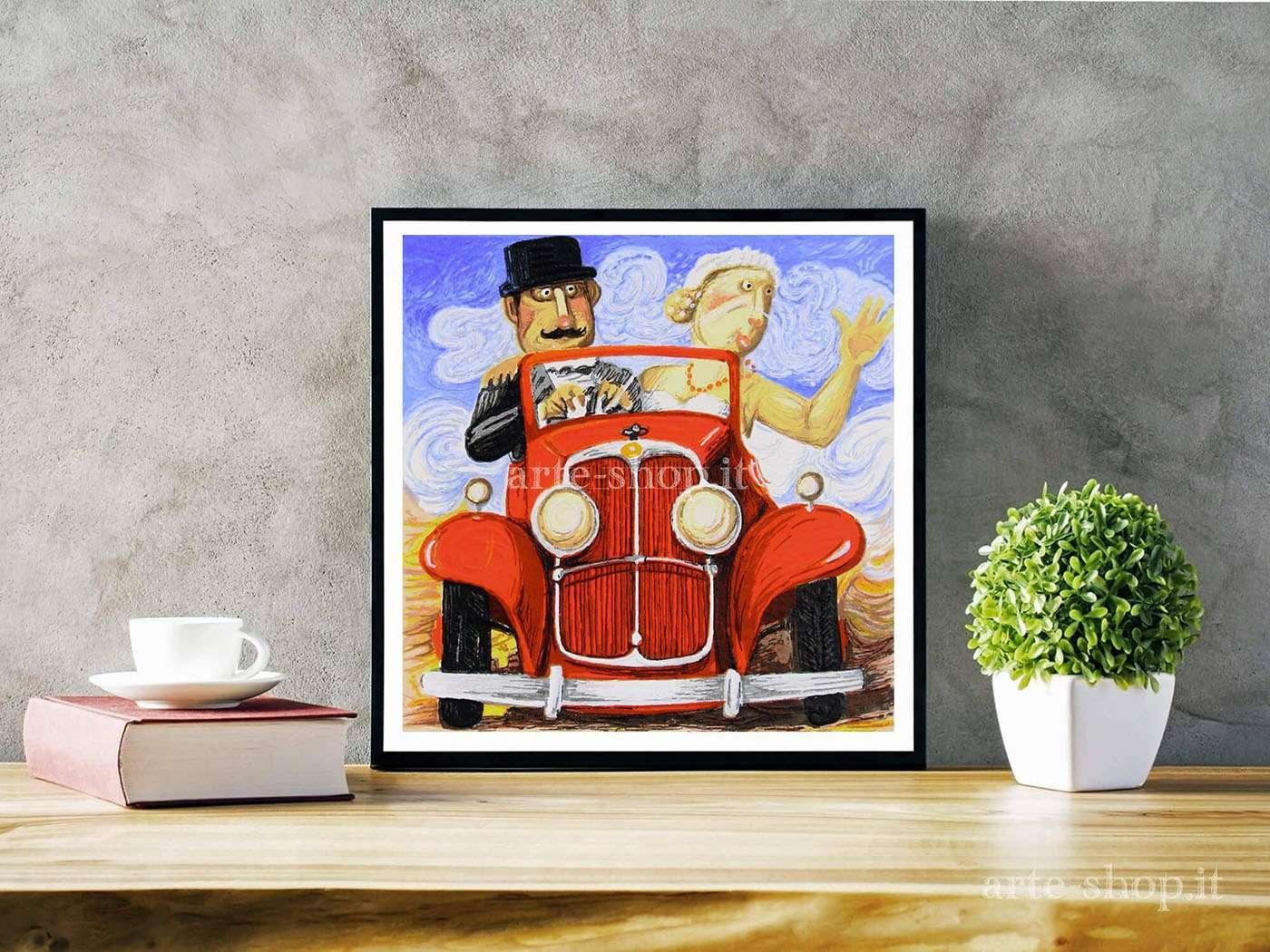 Serigrafia Pino Procopio - Sposi in Bugatti