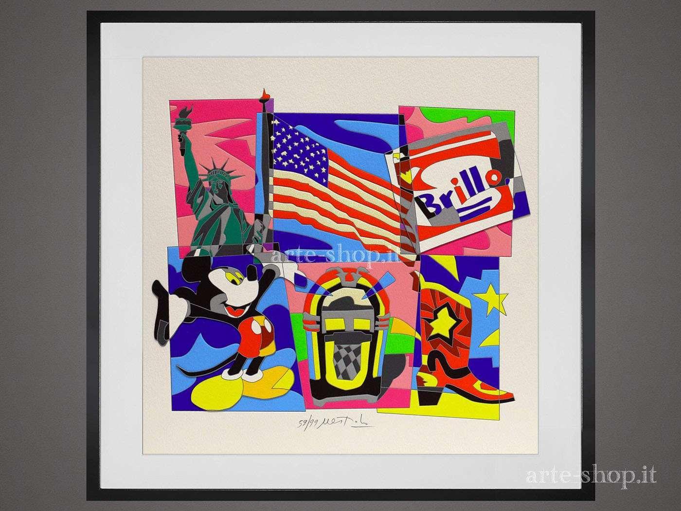 Serigrafia Ugo Nespolo - American Dream