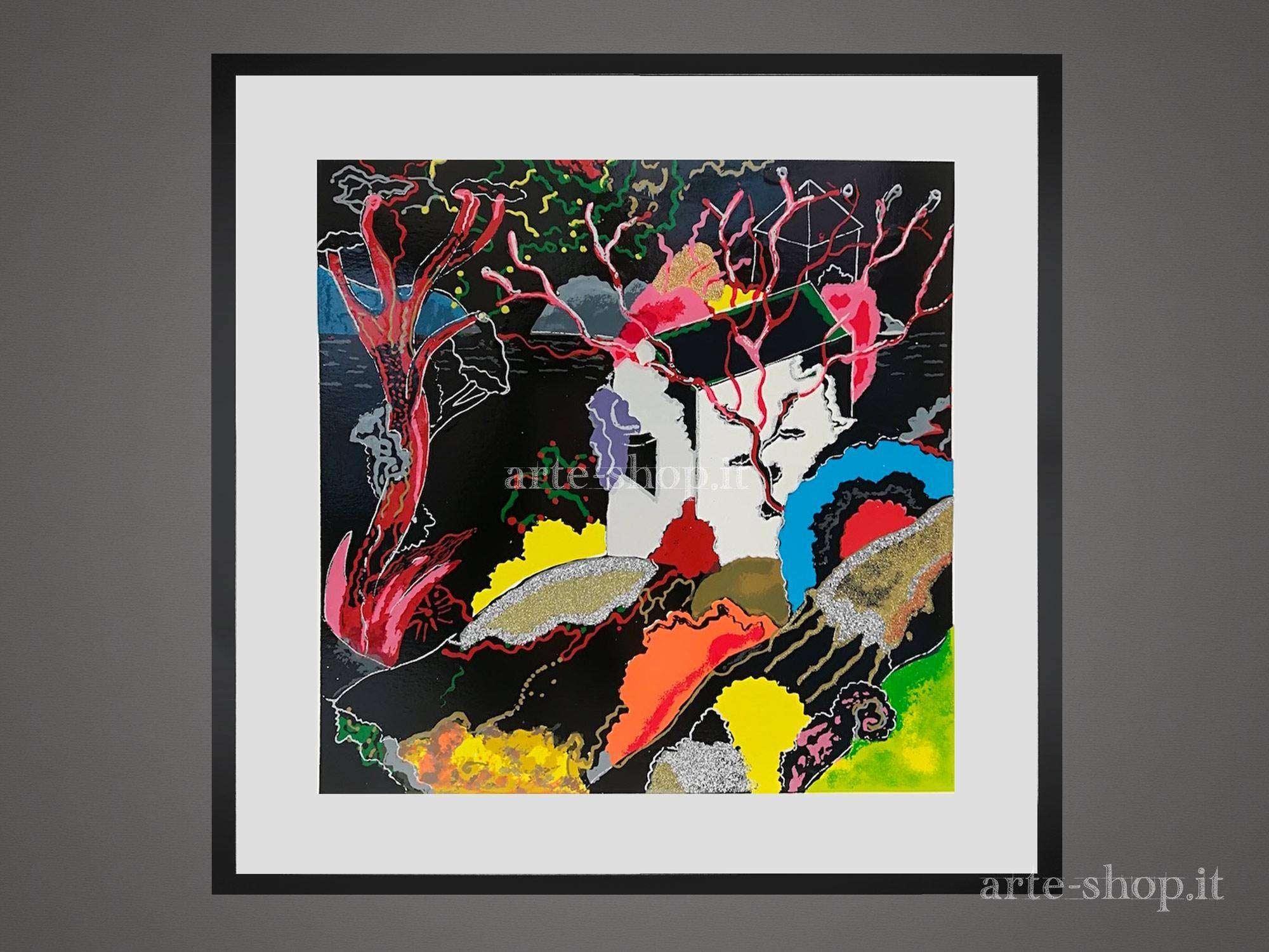 Serigrafia Luca Alinari- Paesaggio in nero