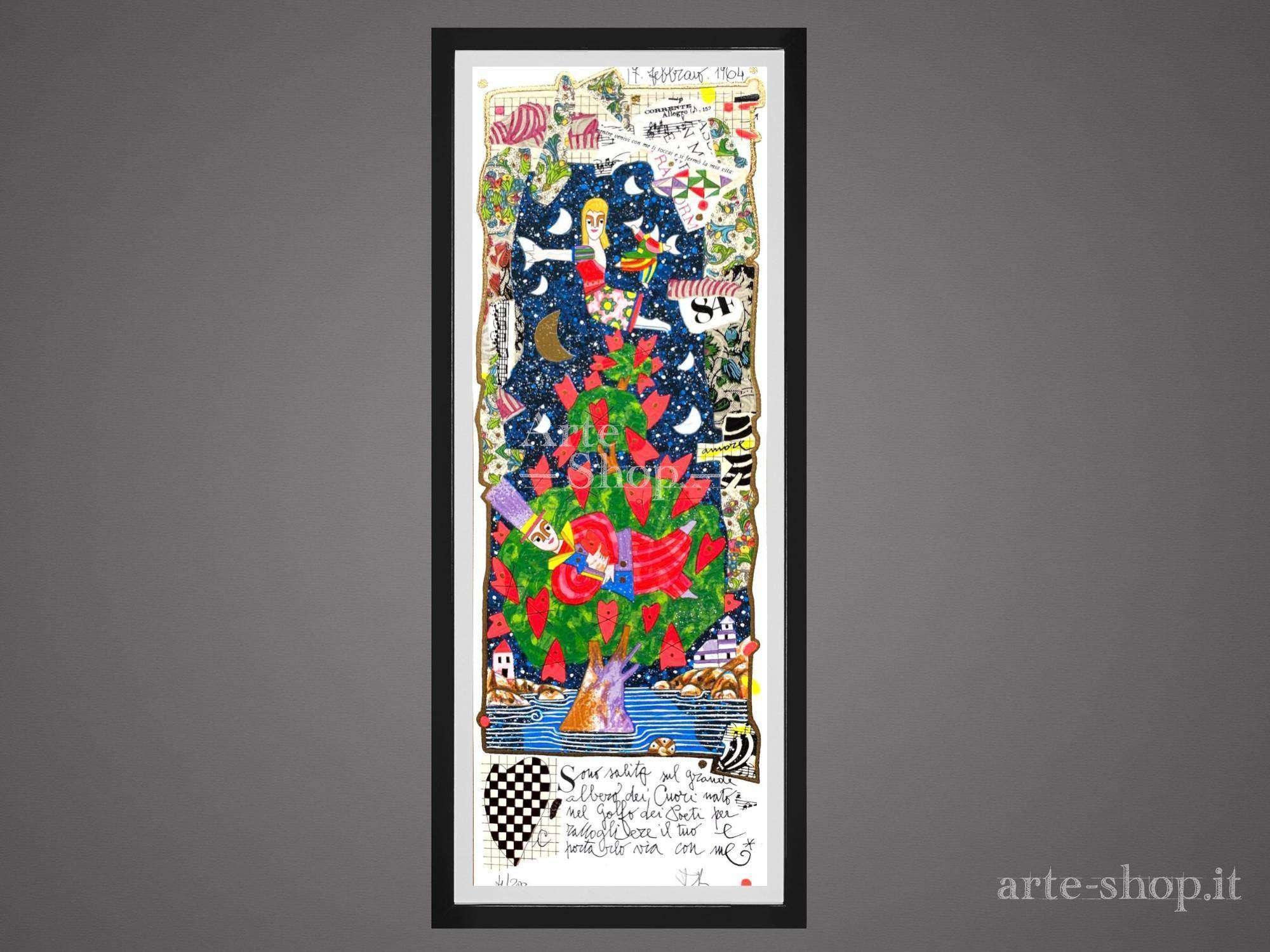Serigrafia Francesco Musante - Sono salito sul grande albero dei cuori