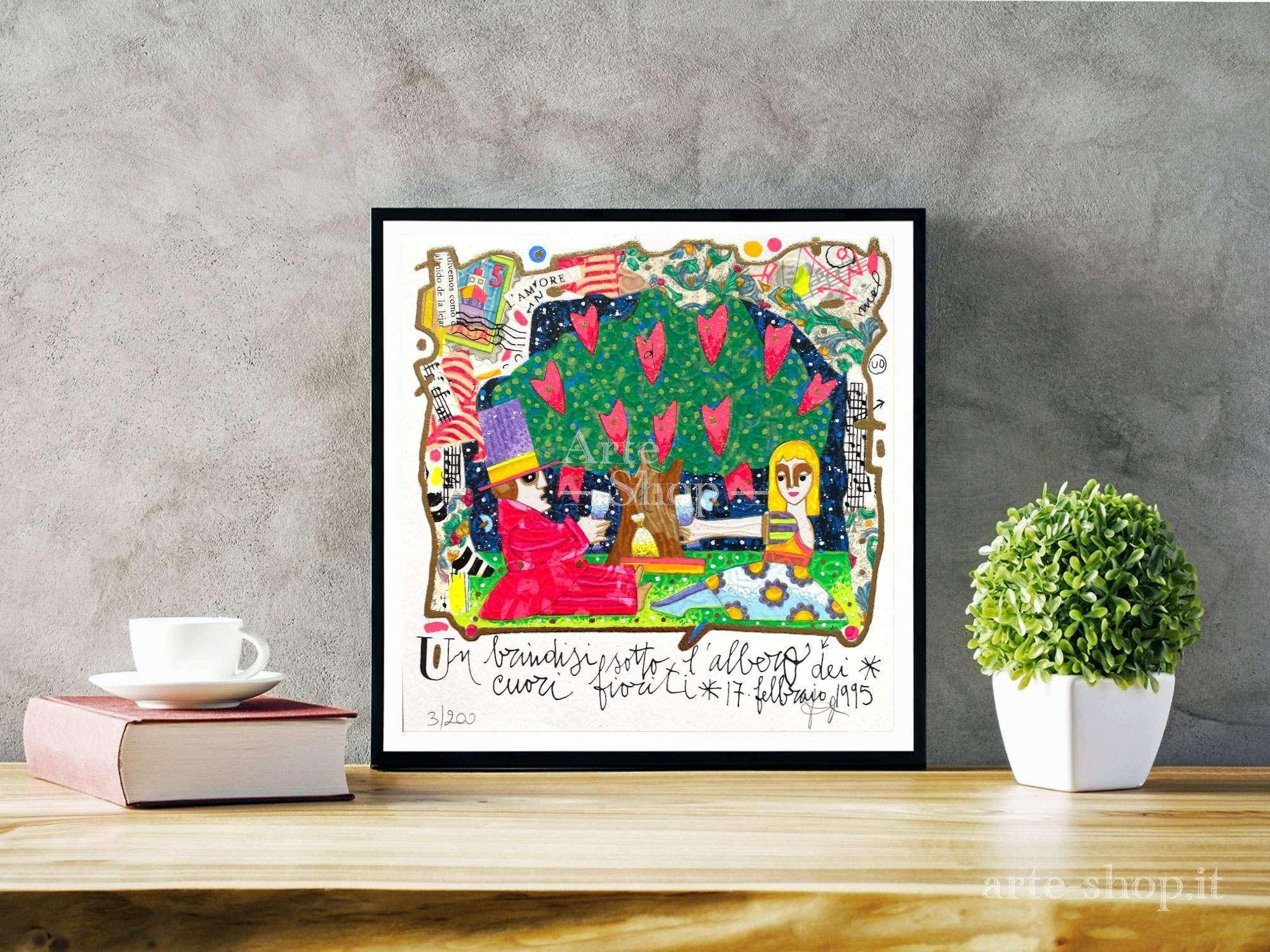 Serigrafia Francesco Musante - Un brindisi sotto l'albero