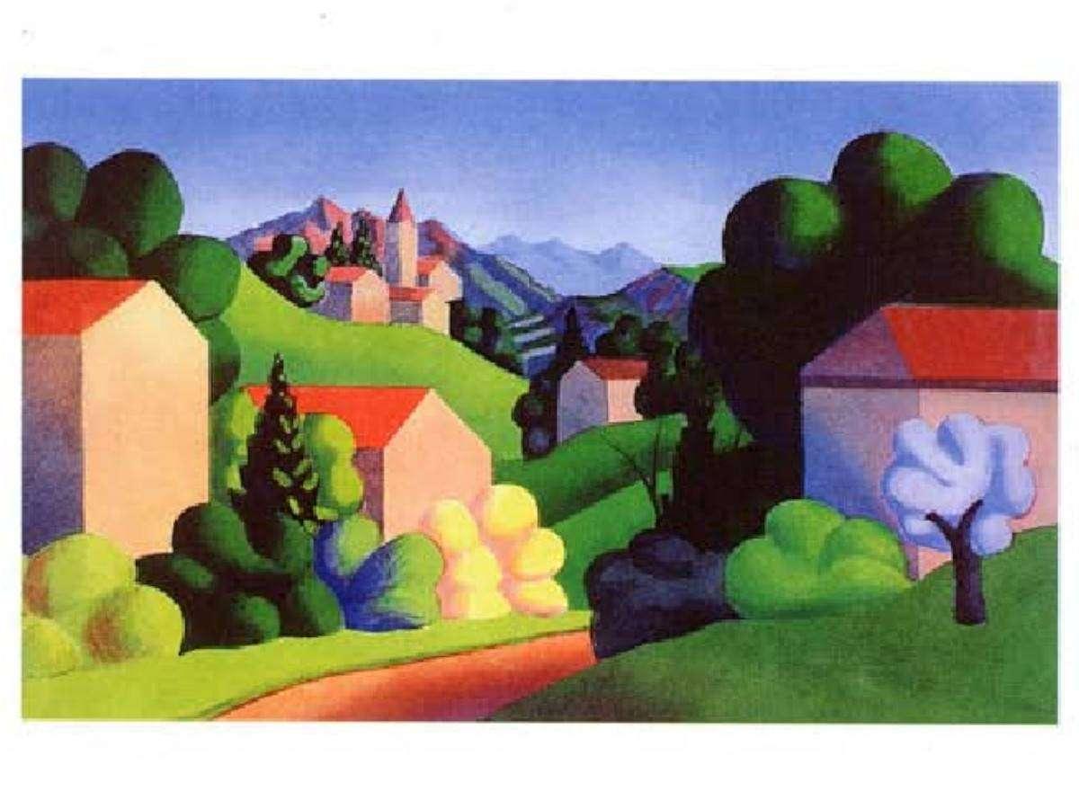 Serigrafia Salvo - Paesaggio 1990