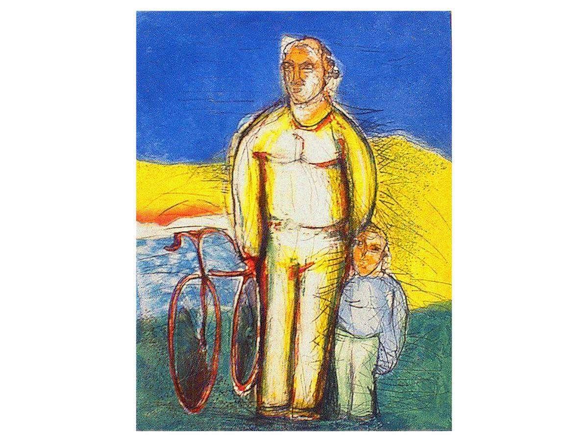 Serigrafia Sandro Chia - Figure in bicicletta